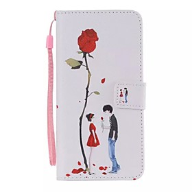 Lovers rose Painted PU Phone Case for iphone5/5S 4829704