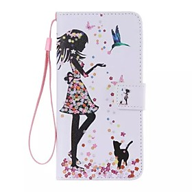 iPhone 7 Plus The bird girl Painted PU Phone Case for iphone5/5S 4829705