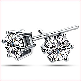 Women's Cubic Zirconia Stud Earrings - Sterling Silver, Zircon, Silver Silver For Wedding Party Daily