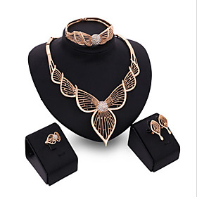 Jewelry Set Cubic Zirconia, Rose Gold Plated Leaf Statement, Ladies, Cuff, Vintage, Party, Fashion Include Rose Gold For Party Special Occasion Anniversary Bir