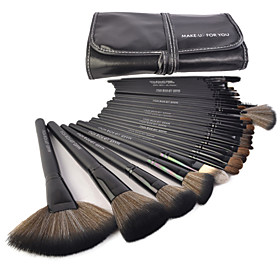Make-up For You 32pcs Pony Hair Makeup Brushes set Professional/Limit bacteria Black Foundation/Powde/Blush/Shadow/brow/lash/lip brush 740818