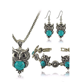 Women's Turquoise Jewelry Set - Resin, Turquoise Owl Luxury, European, Cute Include Red / Green / Blue For Party Daily Casual / Earrings / Necklace / Bracelets