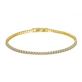 Dame Rhinsten Guldbelagt Simuleret diamant Tennisarmbånd - Mode minimalistisk stil Gylden Guld / Pink Armbånd Til Julegaver Bryllup Fest 4826419