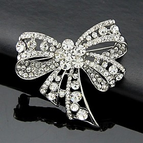 Women's Brooches Crystal Cubic Zirconia Bowknot Ladies Work Fashion Cute Brooch Jewelry Silver For Wedding Party Special Occasion Anniversary Birthday Gift