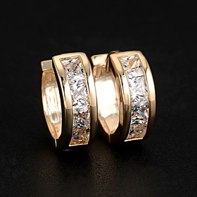 Women's Cubic Zirconia Stud Earrings Hoop Earrings Huggie Earrings Zircon Earrings Ladies Fashion Jewelry Silver / Golden For Wedding Party Daily Casual Sports