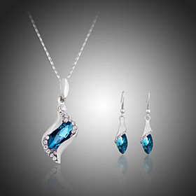 Crystal Jewelry Set - Rhinestone, Silver Plated, Imitation Diamond Party, Fashion, Cute Include Fuchsia / Blue For Party Special Occasion Anniversary / Earring