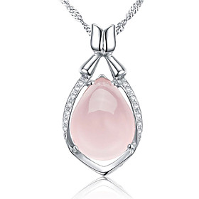 Women's Crystal Pendant Necklace - Sterling Silver, Crystal, Silver Drop Fashion Pink Necklace Jewelry For Party, Daily, Casual