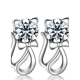 Women's Synthetic Diamond Hollow Out Stud Earrings - Pearl, Sterling Silver, Imitation Diamond Cat, Animal Luxury, Fashion Silver For Wedding Party Daily