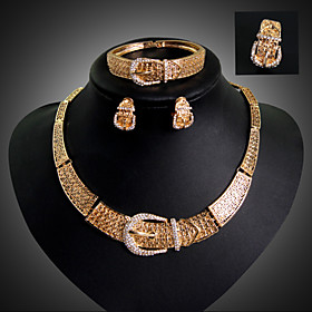 Tassel Jewelry Set - 18K Gold Plated, Rhinestone, Imitation Diamond Statement, Luxury, Party Include Gold For Party Special Occasion Anniversary / Earrings / N