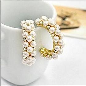 Women's Synthetic Diamond Stud Earrings Hoop Earrings Huggie Earrings Pearl Imitation Pearl Cubic Zirconia Earrings Ladies Luxury Jewelry Screen Color For Wedd