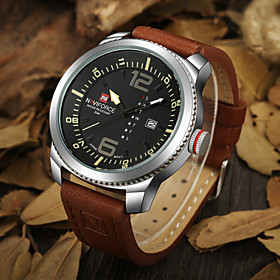 Men NAVIFORCE watch Quartz Waterproof Sports Watch Calendar Genuine Leather Wristwatch(Assorted Color) Wrist Watch Cool Watch Unique Watch 4830422