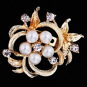 Women's Brooches Pearl Cubic Zirconia Flower Ladies Party Work Casual Fashion Brooch Jewelry Gold Silver For Wedding Party Special Occasion Anniversary Birthda