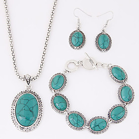 Women's Turquoise Jewelry Set Resin, Turquoise Ladies, Luxury, European, western style Include Red / Blue For Party Daily Casual / Earrings / Necklace / Bracel
