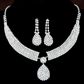 Women's Clear Synthetic Diamond Jewelry Set - Rhinestone Drop Elegant, Bridal Include Drop Earrings Pendant Necklace For Wedding Party Anniversary