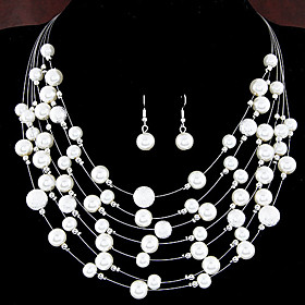 Women's Pearl Layered Jewelry Set Pearl, Imitation Pearl Ladies, European, Fashion, Multi Layer Include For Wedding Party Daily Casual / Earrings / Necklace