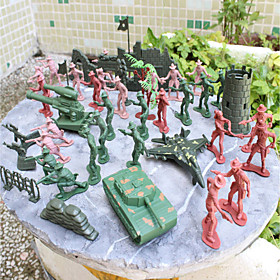 92pcs Soldier Action Figures Set Modeling Tanks, Artillery, Aircraft, Towers, Trees, Sandbags, Bunkers, Fences 4867855