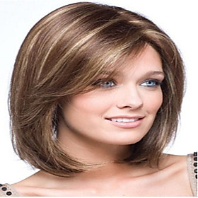 Popular Long Straight Light Brown with Strips Synthetic Hair Wigs 2738729