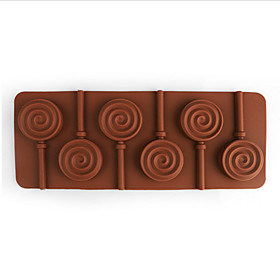 1pc 6 Holes Round Chocolate Lollipop Mold Lolly Pop Silicone mould Ice Cube Cookie Cupcake Molds(Random Color) 4930050