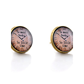 Monograms Stud Earrings - Simple Style, Fashion, Initial Bronze For Wedding Party Daily