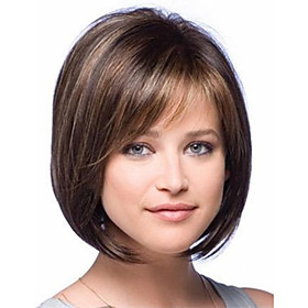 New Arrival Fashion Bob Style Straight Brown with Highlights Synthetic Hair Wig Free Shipping 3280486