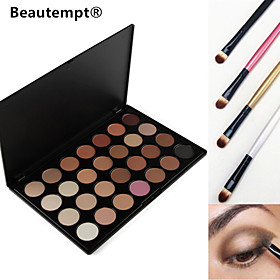 28 Colors Smoky Eyeshadow/Base Primer/Foundation/Blusher/Bronzer Professional Cosmetic Palette with 4 Eyeshadow Brush 4914418
