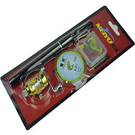 Set of 4Pcs Fibre Glass Pen Fishing Rod Set Kids Fishing Pole Rod 1m Black 5 sections 4906631