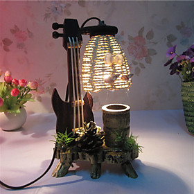 Creative Wood The Violin with Pen Container Decoration Desk Lamp Bedroom Lamp Gift for Kid 4991260