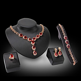 Women's Synthetic Diamond Jewelry Set - Crystal, Rhinestone, Gold Plated Luxury Include Fuchsia / Red For Wedding Party / 18K Gold / Imitation Diamond / Rings