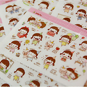 1PC DIY Cute Cartoon Kawaii Stickers Lovely Momo Girl Sticker For Diary Scrapbooking Cellphone Decoration(Style random) 4944858