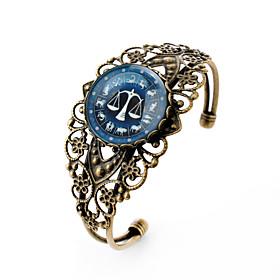 Lureme Vintage Jewelry Time Gem The Zodiac Series Libra Antique Bronze Hollow Flower Open Bangle Bracelet for Women
