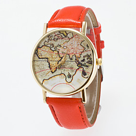 Women's Wrist Watch World Map Quartz Quilted PU Leather Black / Blue / Red Analog Classic Vintage Fashion World Map - Blue Pink Khaki One Year Battery Life / J