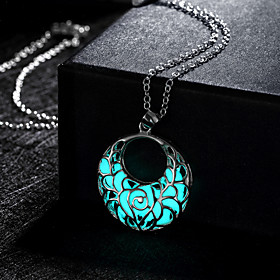 Women's Hollow Pendant Necklace - Crescent Moon Luminous Green, Blue, Light Blue Necklace Jewelry For Wedding, Party, Daily
