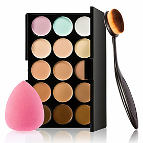 15 Colors Contour Face Cream Makeup Concealer Palette  Sponge Puff Powder Brush for Concealer Foundation Blusher 4932606