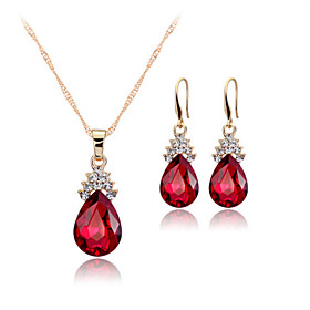 Women's Crystal Jewelry Set - Rose Gold, Crystal Drop Statement, Party, Work Include Drop Earrings Pendant Necklace White / Red / Blue For Party Birthday Gift