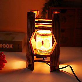 Creative Wood The Seashells Cylindrical Lamp Container Decoration Desk Lamp Bedroom Lamp Gift for Kid 4991266