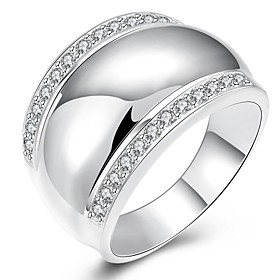New Luxurious Austrian Crystal Metal Ring Real Platinum Plated Big Rock Men Ring Party Wedding Ring 5577919