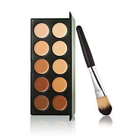 New 10 Colors Contour Face Cream Makeup Concealer Palette  Powder Brush 4932602