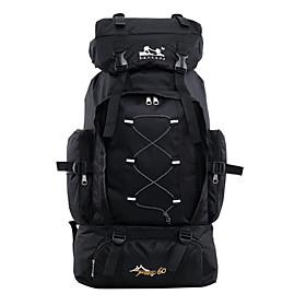Hiking Backpack Rucksack 60 L - Waterproof Zipper Wearable Laptop Packs Outdoor Camping / Hiking Hunting Fishing Terylene Nylon Black Dark Blue Red