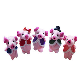 Pig Finger Puppets Puppets Cute Lovely Novelty Cartoon Textile Plush Girls' Gift 5pcs 2101263