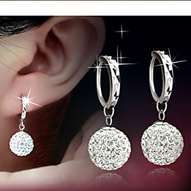 Women's Disco Ball Drop Earrings - Rhinestone Ball Elegant, Bridal Silver For Daily Casual