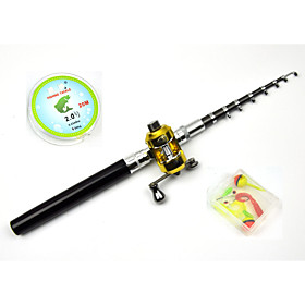 4 in 1 Set Fibre Glass Pen Fishing Rod Set Kids Fishing Pole Rod 4.6ft Black 8 sections 4906632