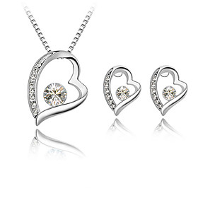 Women's Jewelry Set - Rhinestone Heart Simple Style, Fashion Include Stud Earrings Pendant Necklace Rose / Green / Blue For Wedding Gift Daily