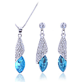 Women's Cubic Zirconia Jewelry Set - Sterling Silver, Zircon, Rhinestone Drop Fashion, Elegant, Bridal Include Drop Earrings Pendant Necklace Purple / Rose / B