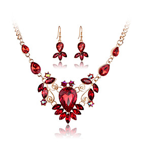 Women's Crystal Jewelry Set - Crystal, Rhinestone, Rose Gold Plated Include Necklace / Earrings Red / Green / Blue For Wedding Party Daily / Imitation Diamond