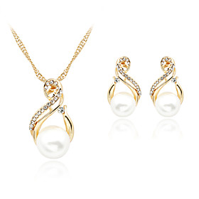 Women's Pearl Jewelry Set - Pearl, Imitation Pearl, Rhinestone Roses Elegant, Bridal Include Drop Earrings Pendant Necklace White For Wedding Party Daily / Ros
