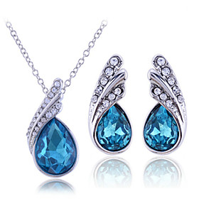 Women's Cubic Zirconia Jewelry Set - Sterling Silver, Zircon, Rhinestone Drop Include Necklace / Earrings White / Purple / Blue For Wedding Party Birthday