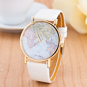 Women's Ladies Sport Watch Wrist Watch World Map Quartz Genuine Leather Multi-Colored Large Dial Analog Charm Fashion World Map Dress Watch - Red Green Pink