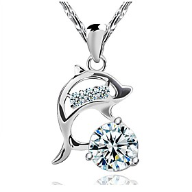 Women's Cubic Zirconia Pendant Necklace - Sterling Silver, Cubic Zirconia, Silver Dolphin, Animal Fashion Silver Necklace Jewelry For Wedding, Party, Daily
