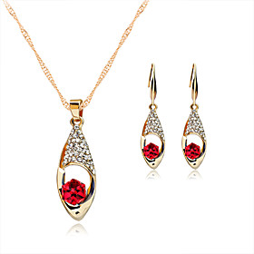 Women's Crystal Jewelry Set - Rose Gold, Crystal, Rhinestone Include Necklace / Earrings Red / Green / Blue For Wedding Party Daily / Rose Gold Plated / Rose G