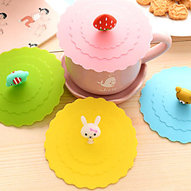Dia 11cm Various Cartoon Animal Silicone Cup Cover Creative Color Mug Cap Drinkware (Random Color) 4958411